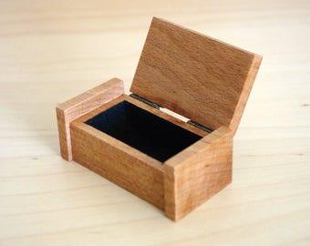 Small Wooden Trinket Ring Box. Handmade.