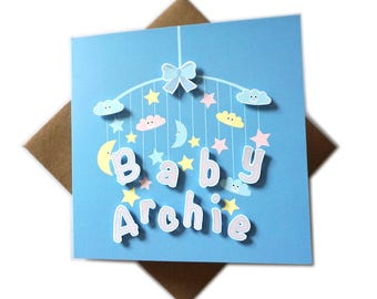 Any name, Personalised baby card, Baby Boy Card, Baby Girl Card, Name on card, Newborn card, New arrival,