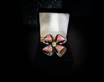 Dichroic Flower Ring (adjustable)