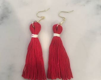 Red and White Long Tassels