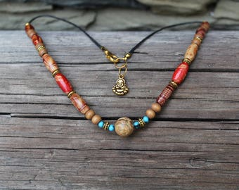 Wooden necklace with landscape jasper, gemstone necklace, natural jewelry, buddha, women jewelry, for her, boho, ethnic, summer jewelry
