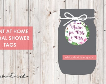 Advice for Mrs. and Mrs. Bridal Shower Tags. Instant Download. Printable Bridal Shower Game. Pink and Purple Flowers. - 03
