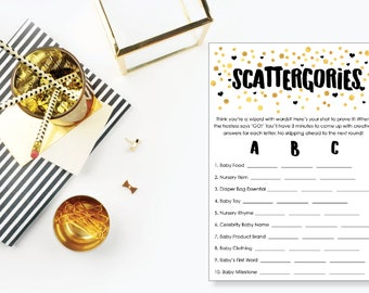 Scattergories. Baby Shower Game. Instant Download. Printable Baby Shower Gender Neutral Game. Gold and Black.