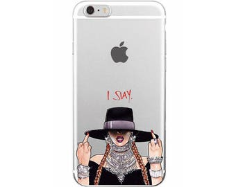 """The """"I Slay"""" Middle Finger Phone Case, Work Hard iPhone Case, Dream Samsung Case, Beyonce Phone Case / Fits iPhone and Samsung"""