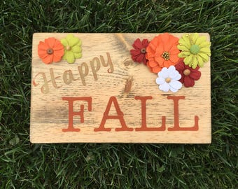 Happy Fall - wood sign - hand painted - fall decor
