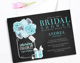 Tiffany blue bridal shower invitation, Mason jar bridal shower invitation, tiffany box invitation, elegant breakfast at tiffany's invitation