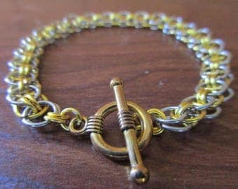 Gold and Silver Chainmail Bracelet | Helm Pattern