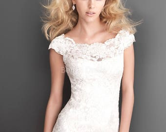 Allure Bridal Lace Dress off the shoulder