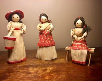 Set of Three Folk Art Cornhusk dolls