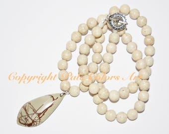 "25"" Fossil Stone Bead Necklace, Cream Necklace, Picture Jasper Pendant Necklace,Neutral Necklace,25 Inch Necklace, 10mm Fossil Bead Necklace"