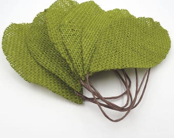 6 Burlap Leaves. Green Leaves. Leaf Appliques. Burlap. Boho. Shabby Chic