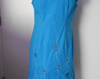 EVAN - PICONE women's teal stretch dress cap sleeves side open size 8