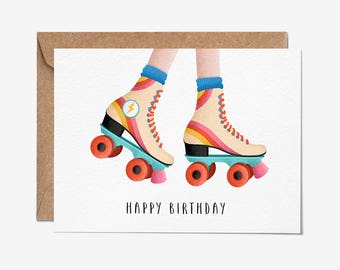 Happy Birthday - Roller Skates - Greeting Card - Folio - Birthday Card - thisisfolio - Stationery