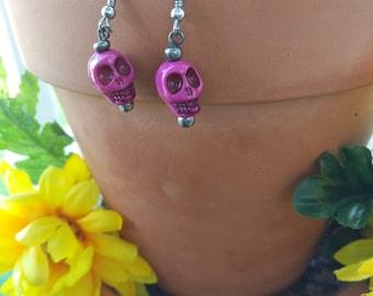 Purple Acrylic Skull Earrings