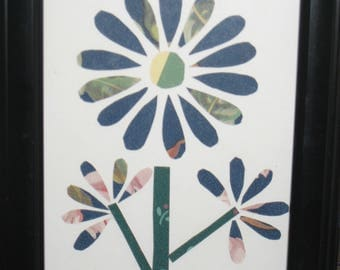 Small flower collage framed picture