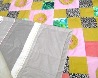 Handmade patchwork, Cotton Patchwork, Cotton handmade throw, handmade blanket, patchwork kids coverlet, patchwork quilt, cotton blanket