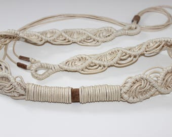 Macrame belt with natural suede/Crochet belt
