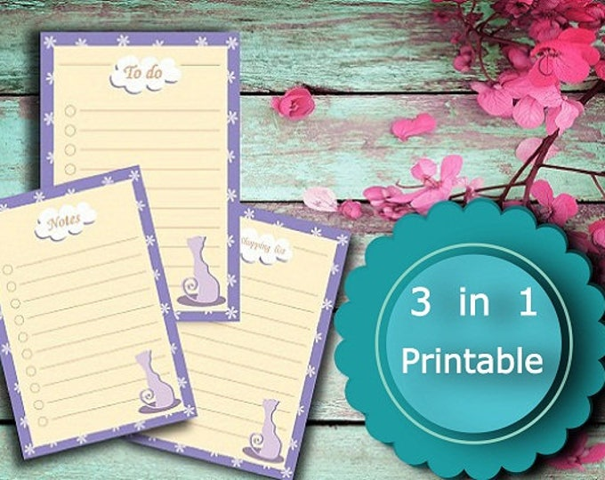 Printable To do list, Notes, Shopping list, 9 JPEG Files To-Do List planner, INSTANT Download