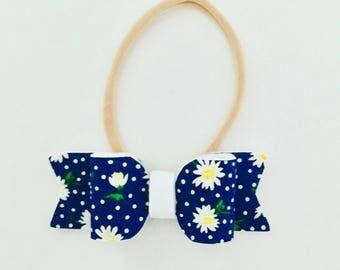 Daisy flower navy blue bow headband or clip