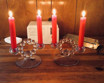 Vintage Art Deco Double Candleholders Imperial Glass Company Candlewick Design