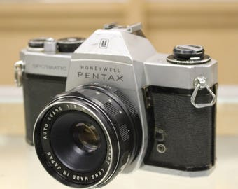 Vintage Honeywell Pentax Spotmatic SP II 35mm Film Camera w/55mm f2.8 Sears Auto Lens