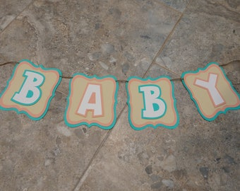 Gender Neutral Baby Shower, Baby banner, Blue Pink and Yellow Baby Banner, Baby Shower decor, Maternity Photo Prop, Pregnancy announcement