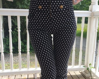 1990s Polka Dot High Waisted Vintage Capri Pants