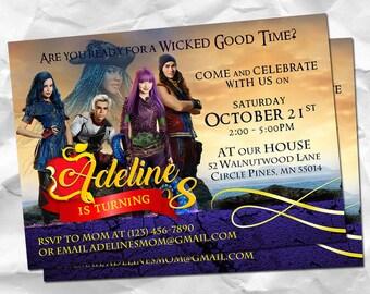 Descendants Birthday Invitation, Disney Party Invitations, Magic Personalized Invite, Mal Evie Printable Card, Disney Themed Invites