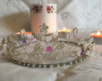 "Handmade ""Pearly Bride"" Silver Plated tiara"