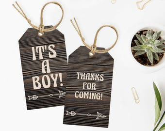 Woodland Baby Shower Tags Printable Arrow Baby Shower Decorations Rustic Baby Party Decor Editable Tags Its a Boy Welcome Tags Download BBD