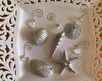 Hand Painted Silver Seashell Ornaments, set of 5