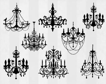 Chandelier SVG Bundle, Chandelier clipart, Chandelier cut files, svg files for silhouette, files for cricut, svg, dxf, eps, cuttable design