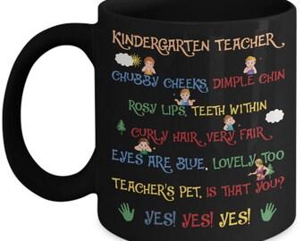 Teacher Mug - Kindergarten Teacher Chubby Cheeks - Profession Home Office Coffee Cup Gift