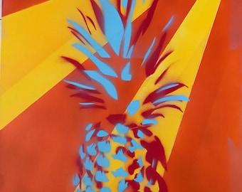 Pineapple Pop Art, Pop Art, Spray Paint, Pineapple, kitchen decor