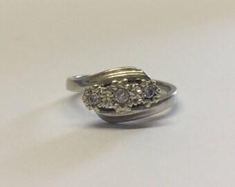 9ct White Gold Diamond Trilogy Ring with 3 Illusion Set Diamonds