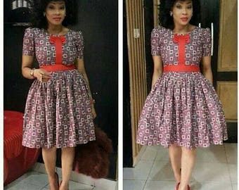 African print flare dress with pocket, kneel length,  Ankara print, African clothing