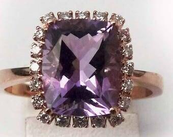Amethyst & Diamond 18ct Rose Gold Cluster Ring