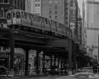 Chicago L train downtown in Black and White also Available in Color
