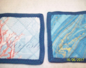 Quilted Nautical Blue Coasters