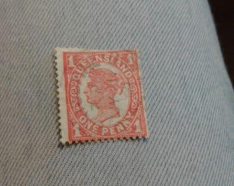Queensland 1911 One penny Vermillion SG313