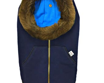 Navy Blue Hoodie for dog, Kangaroo, cotton filling with collar coat removable faux fur, from luxury, high-end