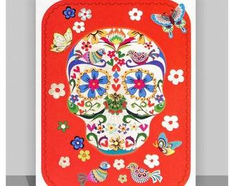 Orange Skull with Butterflies - Laser cut greeting Card #554