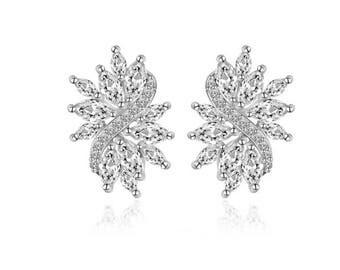 Bridal Earrings Bridal Stud Earrings Wedding Earrings Crystal Wedding Earrings Silver Wedding Earrings Wedding Stud Earrings Bridal Jewelry