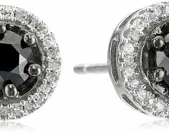 White and Black Diamond Halo Cut Stud Earrings (1ct)