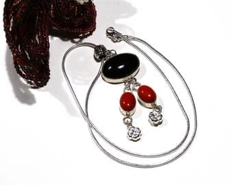Red and black necklace pendant sterling silver modern coral and onyx - gift idea for woman