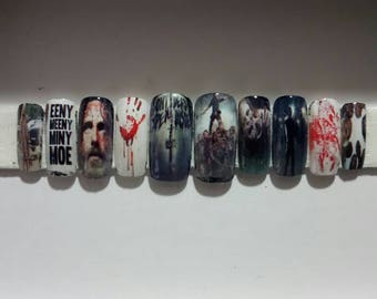The Walking Dead. Press on nails. Fake nails. Zombie nails.