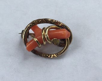 SALE! Vintage Gold Filled Coral Wishbone Love Knot Pin