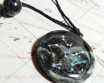 Galaxy Sagittarius Zodiac Sign Constellation Pendant Glow in the Dark Necklace
