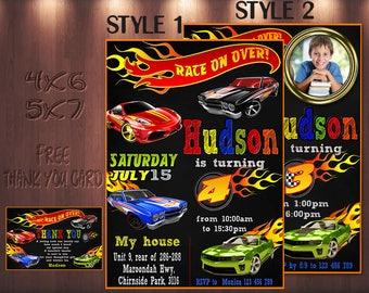 hot wheels invitation, cars Invitation, hot wheels birthday invitation, racing birthday Invitation, cars, hotwheels, vert, racer   1AHO_4