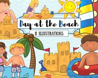 Fun Day At The Beach Clip Art Set